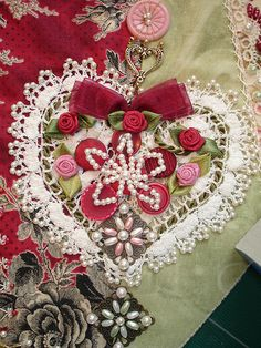 Crazy Patch Seam Treatment - Embellished heart applique on heart block | by Happy 2 Sew