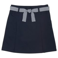 Girls' French Toast Woven Belted Two Pleat Scooter - Navy (Blue) 14, Girl's, Size: 16