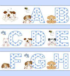 PUPPY NURSERY DECOR Alphabet Wallpaper Border Wall Art Decals Boy Blue Dog Letter Stickers Room Decorations Baby Shower Abc Paw Prints #decampstudios