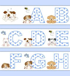 PUPPY NURSERY DECOR Alphabet Wallpaper Border Wall Art Decals Boy Blue Dog Letter Stickers Room Decorations Baby Shower Abc Paw Prints #decampstudios