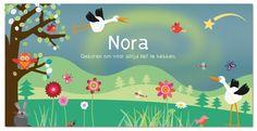 De ooievaar is op weg naar het huis van Nora, geboortekaartje door Zwiep.