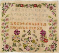 19th Century French Sampler Stitched By MD   Dated 1865 - Le marquoir d'Elise