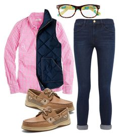 """""""Read the D"""" by preppygirl13 ❤ liked on Polyvore featuring Frame Denim, J.Crew, Lilly Pulitzer, Sperry Top-Sider, women's clothing, women's fashion, women, female, woman and misses"""