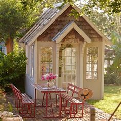 What's a greenhouse without a space to admire it from the outside? This adorable dining set up is our alfresco dream come true! Take…