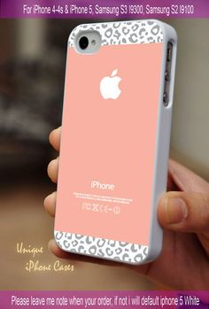 Gray Leopard Pattern on peach color - iPhone 4 / iPhone 4S / iPhone 5 / Samsung S2 / Samsung S3 / Samsung S4 Case Cover