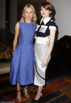 Hollywood's finest: Naomi Watts and Emma Stone were resplendent as they helped promote their new drama-comedy movie Birdman in New York on Monday