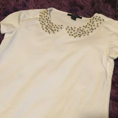 White shirt with beaded collar  Forever 21 white shirt with silver and pearl beads around the collar; never personally worn; purchased from another posher a while back ✨ Forever 21 Tops Blouses