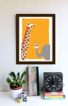 Silkscreen Coffee art print Coffee Thee & Me Giraffe and Elephant art print poster. $25.00, via Etsy.