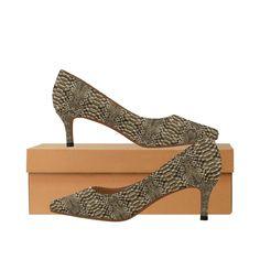 Faux Snake Skin Women's Pointed Toe Low Heel Pumps (Model 053).Faux snake skin pattern shoes. Low Heels, Shoes Heels, Pumps, Snake Skin Pattern, Kitten Heels, Toe, Fashion, Moda