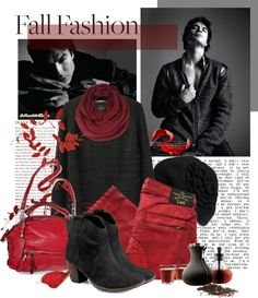 """A cold fall day with Ian Somerhalder"" by vampire-diaires-freak ❤ liked on Polyvore"