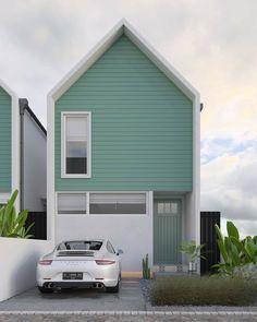 21 Trendy Simple House Exterior Design Home Simple House Exterior Design, Modern Small House Design, Modern Minimalist House, Japanese Modern House, Townhouse Exterior, Narrow House Designs, Halls, Architect House, Facade Design