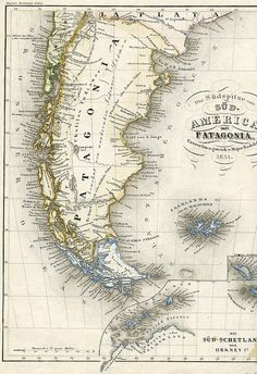 Map of Patagonia, 1851 Vintage Maps, Antique Maps, Vintage Wall Art, Patagonia, Argentine Buenos Aires, Nautical Chart, Map Globe, Old Maps, City Maps