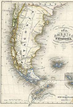 Patagonia map, 1851 #argentina #map #patagonia