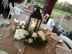 White lantern and hydrangea centerpiece