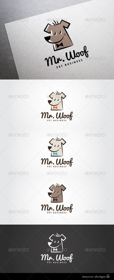 Mr.Woof Logo  #GraphicRiver         Mr.Woof is a clean, professional and elegant logo suitable for a pet care shop, a veterinary clinic, a dogs training academy, a dogs food