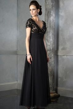 A-Line Black Chiffon V-Neck Short Sleeves Empire Waist Pleated Floor Length Mother Of The Bride Dresses MOBD0190