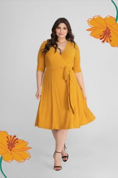 No wardrobe should be without a plus-size wrap cocktail dress, and we have the perfect one for you. The Kiyonna Essential Wrap Dress embodies everything a classic wrap should be with slimming lines, a flattering tie, and a fluid knee-length skirt. We've also added princess seams along the front and back of the wrap dress to create a beautiful shape. Kiyonna Clothing is made exclusively in women's plus sizes and offers plus-size outfits, plus-size fashions, and plus-size looks for you to wear. Dresser, Outfits Plus Size, Plus Size Wedding Guest Dresses, Plus Size Looks, Princess Seam, Casual Wear, Plus Size Fashion, Wrap Dress, Skirts