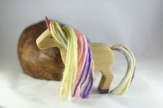 Items similar to Spring Unicorn Wooden Toy - Nature Table - Waldorf Animal - Easter on Etsy Felt Crafts, Crafts To Make, Crafts For Kids, Diy Crafts, Waldorf Crafts, Waldorf Toys, Handmade Wooden Toys, Wooden Diy, Theo Klein