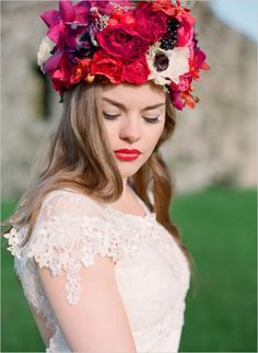 regal looking floral crown by Bo Boutique featuring Pantone color of the year Orchid #floralcrown #bride #weddingchicks http://www.weddingchicks.com/2014/02/24/pantone-perfection-wedding-inspiration/