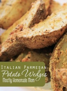 Italian Parmesan Potato Wedges - Oven roasted potato wedges seasoned with garlic, onion, basil, and Parmesan cheese!