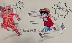 Luffy and the collosal titan ;]