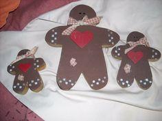 folk art primitive country christmas gingerbread boy man decoration set lot