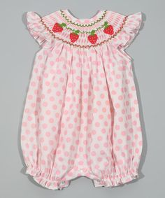 Look at this #zulilyfind! Pink Polka Dot Smocked Strawberry Bubble Romper - Infant by Classy Couture #zulilyfinds