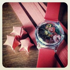 ... some #red #origami #paper #stars! #may28th #watches #plastic #floral