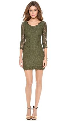 NWT $325 DVF Diane von Furstenberg Zarita Lace Scoop Olive Green Dress 12 SPRING #DianevonFurstenberg #StretchBodycon #Cocktail