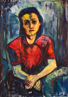 """By Maria von Heider-Schweinitz (1894-1974) (German painter of expressive realism), 1938, """"Kleine Jüdin""""(Little Jew)."""