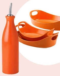 Orange  Ceramic Oil Drizzler   This drizzler packs a lot of color in a small package.   $9, FoodNetworkStore.com  Bubble & Brown Baker Set  This stoneware's playful shape and vibrant color go directly from oven to table.  $40, FoodNetworkStore.com