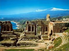 Greek theatre in Taormina, Sicily - with Mt. Etna