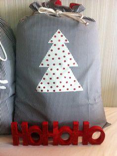 Santa sack - blue/white