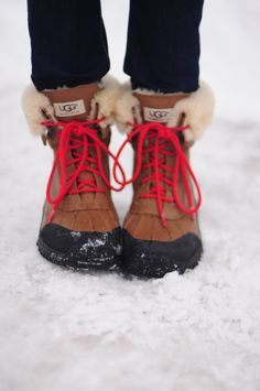 UGG SNOW BOOTS - The Adirondack Boot. Love the red laces!