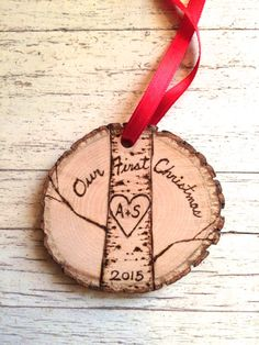 Our First Christmas wood burned wood slice rustic ornament Personalized
