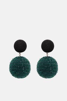 Les Bonbons — Two Ball Earrings Black/Green — THE LINE