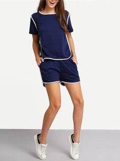 Conjunto Short e Blusa Azul - Compre Online