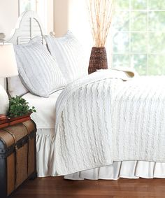 Another great find on #zulily! White Ruffle Quilt Set by Greenland Home Fashions #zulilyfinds