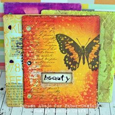 Art journal pages from Teresa Abajo at Faber-Castel Design Memory Craft, made with Double Scoop Gelatos® and Whipped Spackle®. I love those glowing colors!