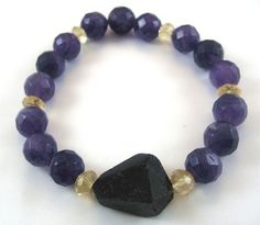 Good for travel, protection & relaxation. One-of-a-kind Black Tourmaline, Amethyst & Citrine Bracelet. #jewelry #bracelet