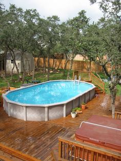 Pool with low level decking - San Antonio | by abovegroundpoolcompany