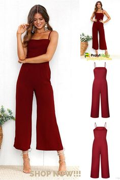 Keep cool and fashion-forward with this spaghetti strap jumper. This casual getup is the perfect choice for any casual occasion. Red Wide leg jumpsuit with spaghetti straps.   Date night ready burgundy wide leg jumpsuit  summer backless spaghetti strap jumpsuit  cute summer outfits jumpsuits & rompers  cute summer outfits black women jumpsuits & rompers  #womenstreetstyles #womenstyle #fashion #casualoutfits #casualstyle #smartcasual #businesscasual #cutesummeroutfits Jumpsuits For Women Formal, Formal Wear Women, Classy Summer Outfits, Summer Outfits For Moms, Rompers Dressy, Jumpsuit Dressy, Cocktail Outfit, Classy Casual, Business Casual Outfits