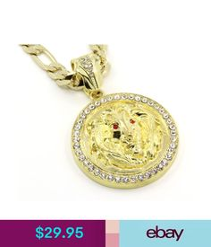 """Chains, Necklaces & Pendants Mens 14K Gold Plated 30"""" Figaro Chain Lion Face Red Eyes Pendant Necklace #ebay #Fashion"""
