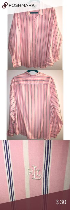 """Lauren Ralph Lauren Button Down Blouse. Size 3X Pink with blue and white stripes. Long sleeve. All buttons are in tact. Small RLL embroidered symbol on left chest. 100% cotton. Size 3X  Measurements- laying flat: Armpit to Armpit - 29"""" Length from top of shoulder down - 28"""" Lauren Ralph Lauren Tops Button Down Shirts"""