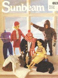 Sunbeam 653 - fashion doll clothes - vintage knitting pattern