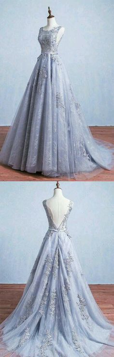 Grey Prom Dresses, Long Prom Dresses, Glamorous A-Line Round Neck Gray Tulle Ball Gown Long Prom Dress Appliques Evening Dress Gray prom dresses, long prom dresses, glamorous A-line round collar Gray tulle prom dress Long prom dress Grey Prom Dress, Elegant Prom Dresses, Backless Prom Dresses, A Line Prom Dresses, Pretty Dresses, Long Dresses, Wedding Dresses, Dress Long, Banquet Dresses