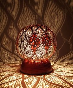 Swirling Leaves Design calabash lamps by Diwali Lamps, Leaf Projects, Farmhouse Lamps, Hand Painted Gourds, Fractal, Gourd Lamp, Vintage Candle Holders, Moroccan Lanterns, Handmade Lamps