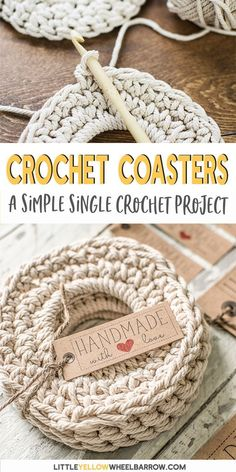 Free Crochet Coaster Pattern (Single Crochet Stitch) These crochet coasters are a simple and quick DIY project. Made from cotton they are great for wicking away moisture and thick enough to protect surfaces from. Crochet Diy, Crochet Unique, Crochet Simple, Stitch Crochet, Crochet Video, Crochet Motifs, Single Crochet Stitch, Easy Crochet Patterns, Quick Crochet Gifts