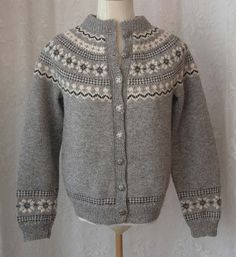 Reserved for Norwegian Fair Isle Wool Cardigan Sweater - Hand Knit Husfliden - Scandinavian Nordic - Gray Black White - Ski Sweater Nordic Pullover, Nordic Sweater, Ski Sweater, Wool Cardigan, Fair Isle Knitting, Hand Knitting, Fair Isle Pullover, Norwegian Knitting, Icelandic Sweaters
