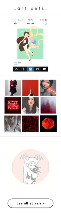 """"""":: a r t   s e t s ::"""" by imsailormars ❤ liked on Polyvore featuring art, anime, sailormoon, hashbrownz, artset, artexpression and justiceforbarb"""